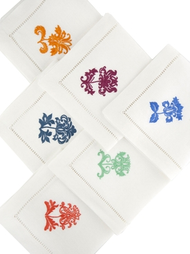 The Nap King - Damask Hand Embroidered Napkins, Set Of 6 - Home