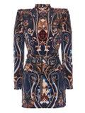 Dundas - Printed Structured Mini Turtleneck Dress - Women