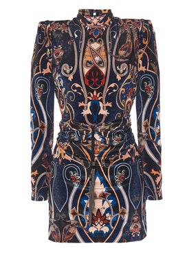Dundas - Printed Structured Mini Turtleneck Dress - Women