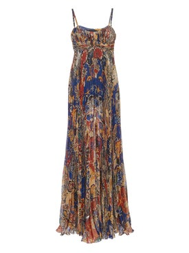 Dundas - Printed Pleated Silk Maxi Dress - Evening