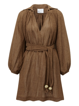 Poet Mini Dress, brown gauze