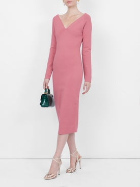 Stella Mccartney - V-neck Midi Dress Pink - Women