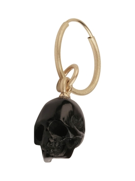 Black skull single earring