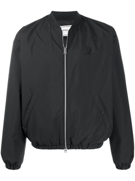 Black zipped bomber jacket