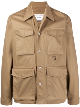 Beige multi-pocket cargo jacket
