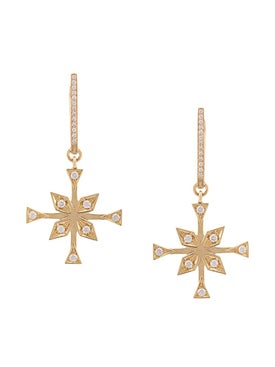 Azlee - Compass Charm Diamond Hoops - Fine Earrings