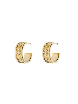 Azlee - Sky Small Diamond Hoops - Women