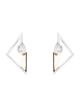 Two Tone Triangle Earrings