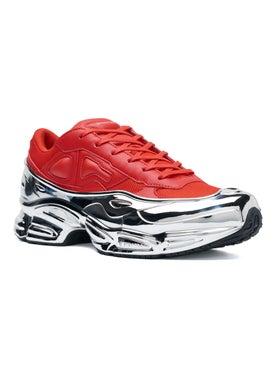 Adidas - Adidas X Raf Simons Red And Silver Ozweego - Low Tops