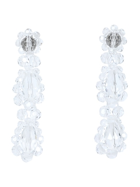 CLEAR BEADED SHORT DROP EARRINGS
