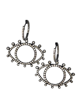18k rhodium and diamond eye earrings