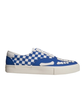 Blue Checkered Skeleton Toe Sneakers