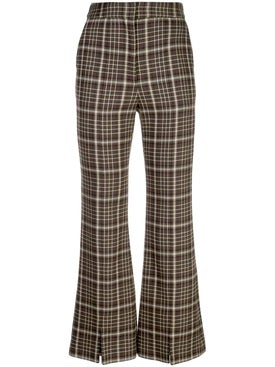 Adam Lippes - Brown Plaid Flared Trousers - Women