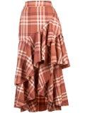 Johanna Ortiz - Check Print Midi Skirt - Women