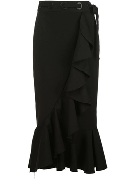 Black ruffled midi skirt