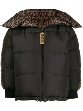 Fendi - Black And Brown Ff Logo Puffer Jacket - Women