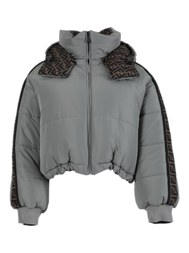 Grey and brown down jacket