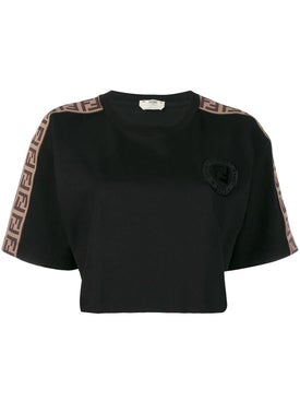 Fendi - Logo Embossed Cropped T-shirt Black - T-shirts