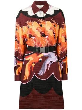parrot print shirt dress