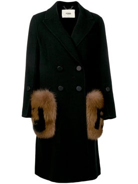 Fendi - Fur Logo Overcoat Black - Women