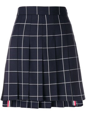 Thom Browne - Windowpane Pleated Mini Skirt - Women