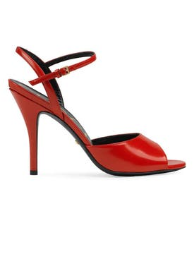 Gucci - Peep-toe Leather Sandals Red - Women