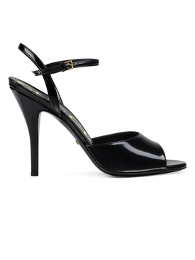 Peep-toe leather sandals BLACK