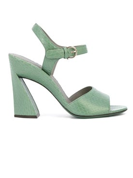 Salvatore Ferragamo - Green Sculpted Heel Sandals - High Sandals