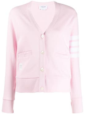 Thom Browne - Light Pink V-neck Cardigan - Women