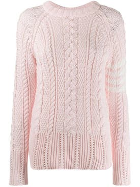 Thom Browne - Light Pink Cable Knit Sweater - Women