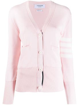 Thom Browne - Classic V-neck Cotton Cardigan Light Pink - Women