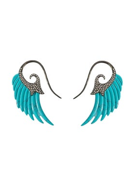 Noor Fares - Turquoise Fly Me To The Moon Earrings - Women