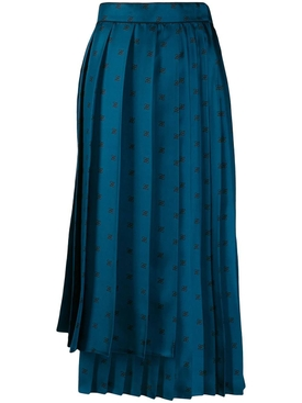 Pleated FF logo skirt BLUE DECO