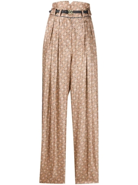 Fendi - Ff Logo Silk Belted Pants - Women