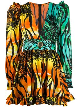 Fausto Puglisi - Multicolored Ruffed Mini Dress - Women