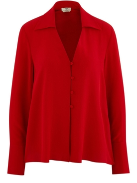 bright red buttoned blouse