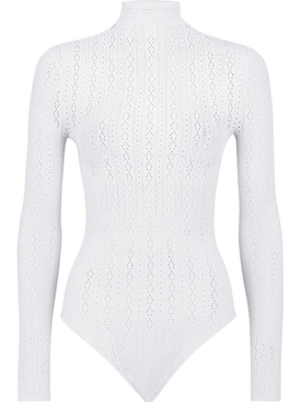 Open knit long sleeve bodysuit, white