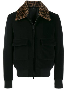 Fendi - Ff Logo Collar Bomber Jacket Black - Men