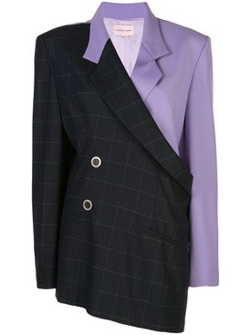 Natasha Zinko - Plaid And Lilac Oversized Blazer - Women
