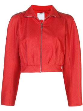 Area - Embellished Cropped Bomber Jacket - Women