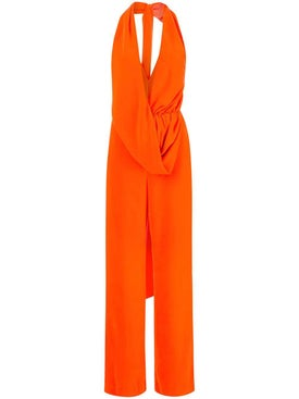 Area - Orange Halter Neck Jumpsuit - Women