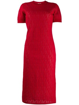 Fendi - Monogram Devore T-shirt Dress Red - Mid-length