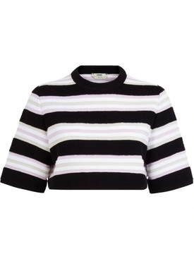 Striped pullover towel stitch top