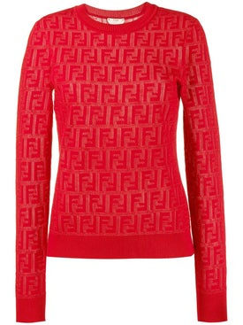 Fendi - Jacquard Knit Ff Logo Sweater Red - Women