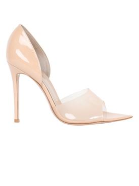 Nude patent sandal