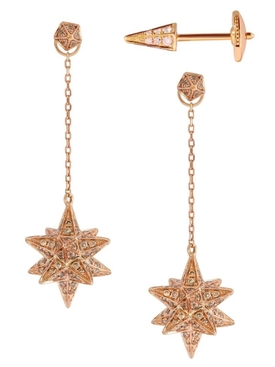 18kt Rose Gold Merkaba Diamond Drop Earrings