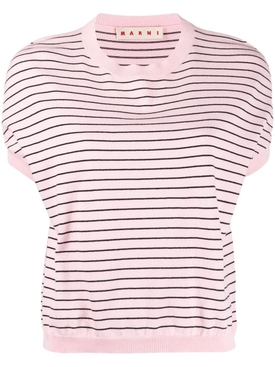 Pink and black striped knit top