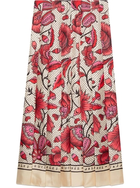 Silk skirt with watercolor flower print
