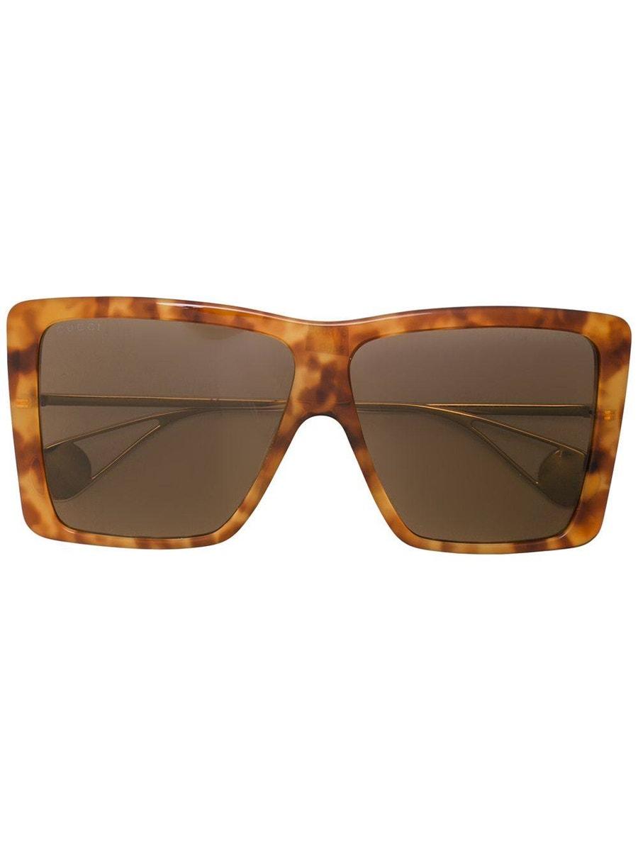 Gucci Havana Square Oversized Sunglasses
