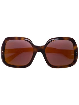 Gucci - Brown Square Frame Sunglasses - Women